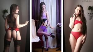 Three photos of Dekilah in Lingerie