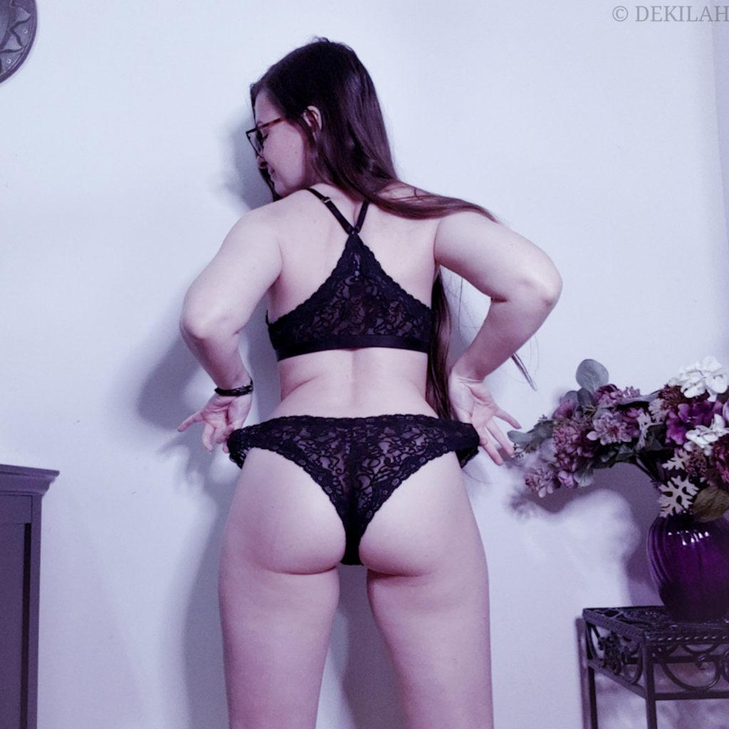 Dekilah wearing black LoveSuze lingerie